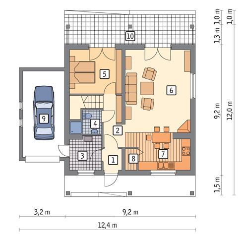 Rzut parteru POW. 80,7 m²