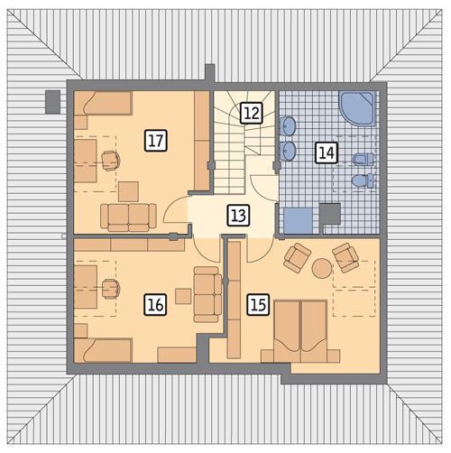 Rzut poddasza POW. 75,5 m²