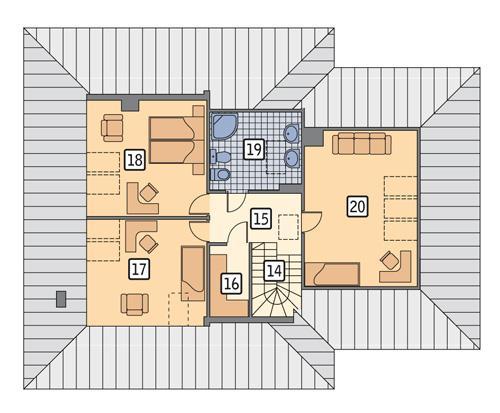 Rzut poddasza POW. 100,3 m²
