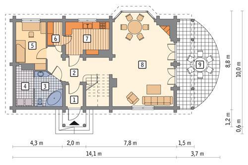 Rzut parteru POW. 92,9 m²