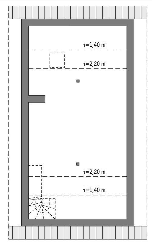 Rzut poddasza: do indywidualnej adaptacji (45,1 m2 powierzchni użytkowej)