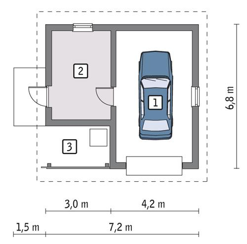Rzut parteru POW. 32,9 m²