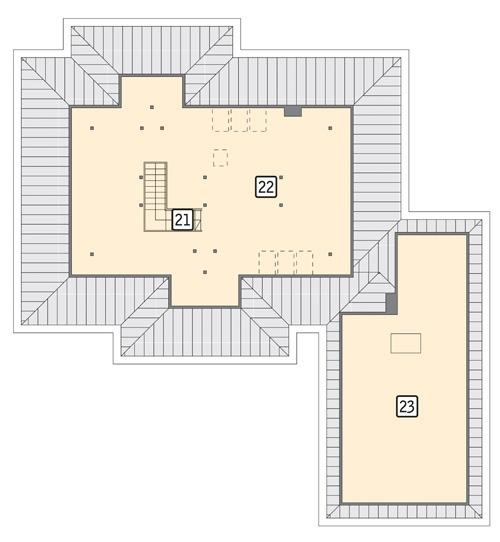 Rzut poddasza: II etap realizacji - do indywidualnej aranżacji (58,5 m2 powierzchni użytkowej)