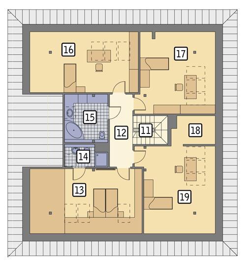 Rzut poddasza POW. 149,1 m²