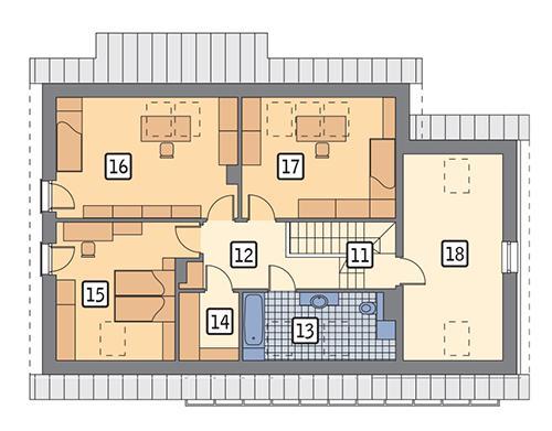 Rzut poddasza POW. 104,0 m²