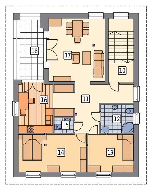 Rzut piętra POW. 99,7 m²